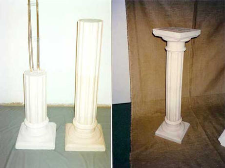 Weiße Betonsäulenform