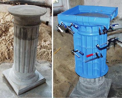 Gecanneleerde kolom van beton of gips